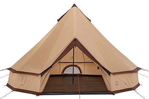 Grand Canyon Indiana - 10 Personen Rundzelt, Ø 500 cm, Tipi, Pyramidenzelt für Gruppen, Camping, Outdoor, Glamping, beige, 602020
