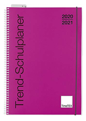 TimeTEX Trend-Schulplaner A5 Magenta - Ringbuch - Schuljahr 2020-2021 - Lehrerkalender - Unterrichtsplaner - Timetex 10590