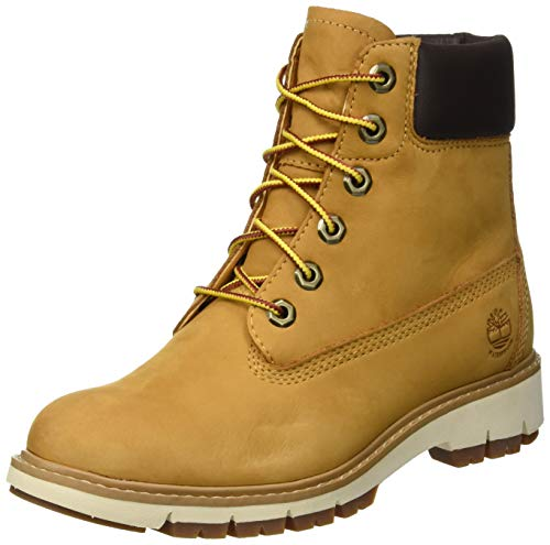 Timberland Lucia Way 6 inch Waterproof, Stivali Stringati Donna, Giallo Wheat Nubuck, 38 EU