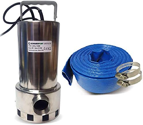 Schraiberpump Sump Pump for Clean/Dirty Water 1.5HP w/water level sensor (4 ON/OFF positions, no external float switch) 4860GPH, 26'Head INCLUDES 25FT OF REINFORCED PVC LAY FLAT HOSE