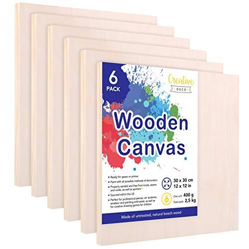 Creative Deco Houten Schilderborden | Set van 6 Stuks | 30 x 30 cm | Multiplex Canvas | Houten Paneel voor het Schilderen | Gepeperde Canvas voor Mixed-Media Ambacht, Encaustiek, Decoupage, Foto's