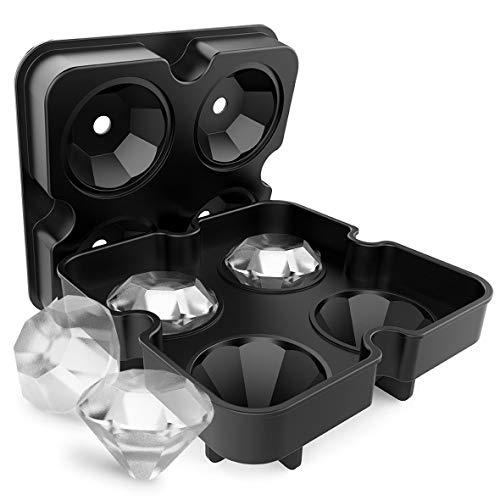 Molde de silicona Pennytupu para cubitos de hielo, forma de diamante, 4 rejillas para hacer helados, moldes para frutas