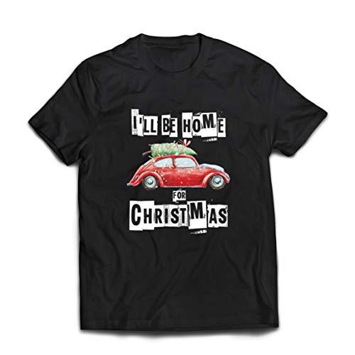 lepni.me Männer T-Shirt Ich werde zu Hause Sein für Weihnachten Familie Favoriten Urlaub Thema (X-Large Schwarz Mehrfarben)