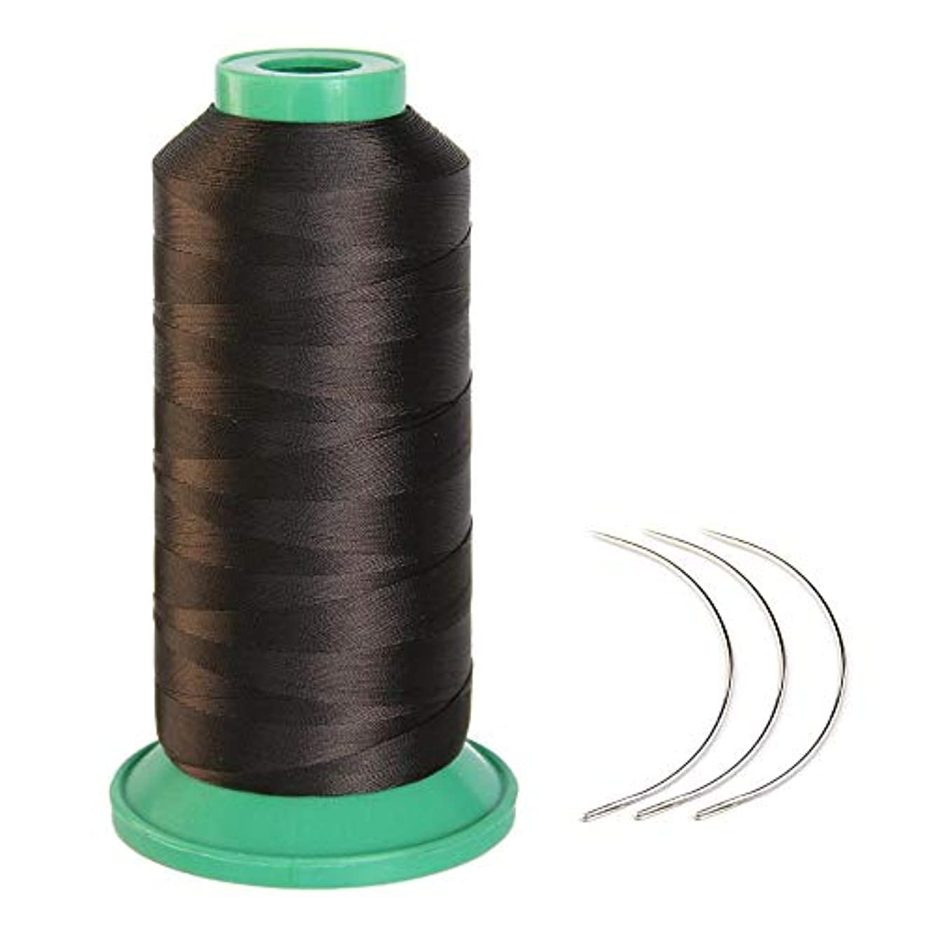 Young Hair 1700 Meters Elastic Nylon Sewing Thread 3pcs 9cm Curl Needles for Wig Making(Dark Brown)