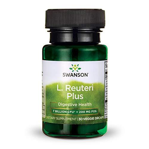 Swanson L. Reuteri Probiotic Plus with L. Rhamnosus L. Acidophilus & FOS Prebiotic Digestive Support 7 Billion CFU 30 Veggie Capsules