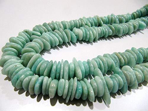 Shree_Narayani Cuentas de Amazonita natural en forma de nugget, planas, lisas, de 10 mm a 15 mm, para hacer joyas, cuentas de piedra natal de 20 cm de largo, 2 hebras
