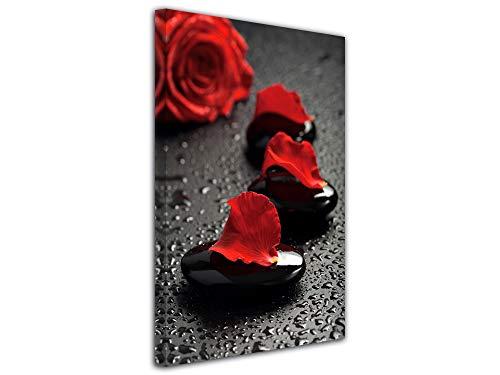 Decliina decoratieve wandfoto, canvas, woonkamerdecoratie, kiezelstenen en roos, rood, 30 x 50 cm 100x150 cm Rood