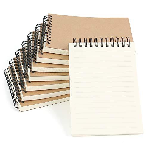 SallyFashion A6 Spirale Notizblock, 8 Stück Klein Notizbuch 80 Blatt Notizheft Skizzenblock Journal Tagebuch Schreibblock Zeichenblock