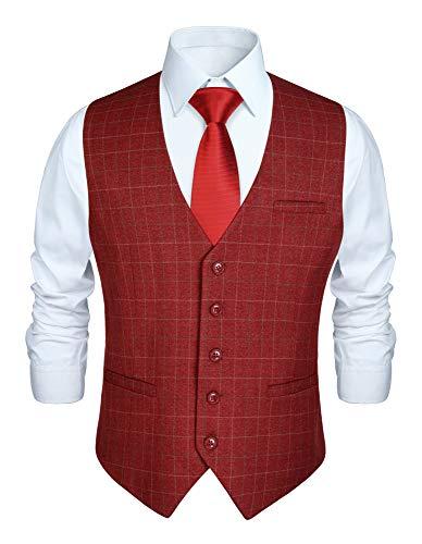 HISDERN Chaleco formal de fiesta de boda para hombres Chaleco de algodon a cuadros Vestido de borgona Chaleco de traje