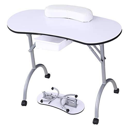 Manicure Nail Table -SUNCOO Nail Station Portable Manicure Desk Foldable Nail Tech table Spa Beauty Salon with Rolling Wheels,Carry bag,Drawer,Sponge...