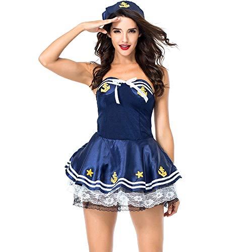 JJAIR Damen Sexy Seemann-Kostüm, erwachsenes Halloween-Kostüm Retro Gold Knöpfen Ärmel Marine-Kostüm,Blau