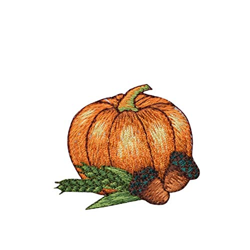 Pumpkin with Acorns Iron on Embroidered Patch