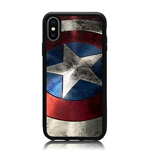 iPhone X Case, Captain America Shield Print Soft Silicone & Hard Back Cover, [Shock Absorbent] Shell Protective Case for iPhone X
