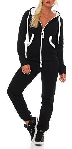 Damen Jumpsuit Jogger Jogging Anzug Trainingsanzug Einteiler Overall 9t5 schwarz S