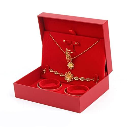 Nuovo High-end Grande Rosso Matrimonio Festoso Set Box High-end Bracciale Gioielli Box Oro Drago e Phoenix Bracciale Box-Rosso