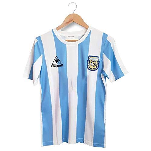 Rongchuang Retro Argentinien Fußballtrikot T-Shirt, Maradona Ball King Fußballtrikot für unseren Forever No.10 Hero 1986 Argentinien WM Klassik Vintage Vintage Fußball Trikot Uniform