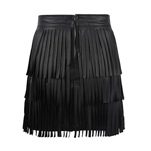 iixpin Mini Falda de Borla de Cuero PU con Flecos para Mujer Estrecho Atractiva Lápiz Faldas de Tubo Bodycon Estilo Punk Falda Ropa de Fiesta Club Danza Etapa Partido Negro X-Large
