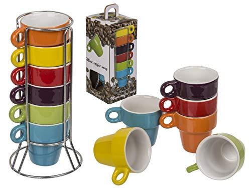 EVP Espresso Tassen ca. 5x5cm 6-farbig Sortiert - Keine Auswahl - 6 Stück im Chromständer und Geschenkbox
