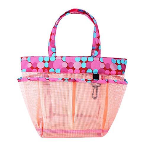 BESPORTBLE Schwimmen Strandtaschen Aufbewahrung Mesh Tote Handtaschen Frauen Badeanzug im Freien Sammeln Paket Bad Kulturbeutel (Rosa)