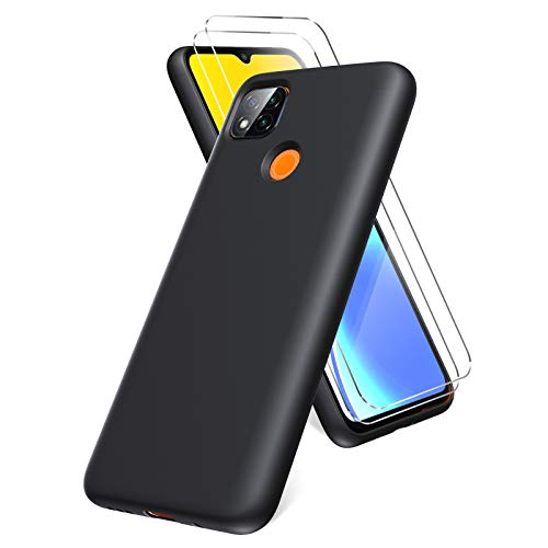 Oududianzi Funda para Xiaomi Redmi 9C, Protector Pantalla Cristal Templado, Carcasa de Silicona Líquida Gel Ultra Suave Funda con tapete de Microfibra Anti-Rasguño - Negro