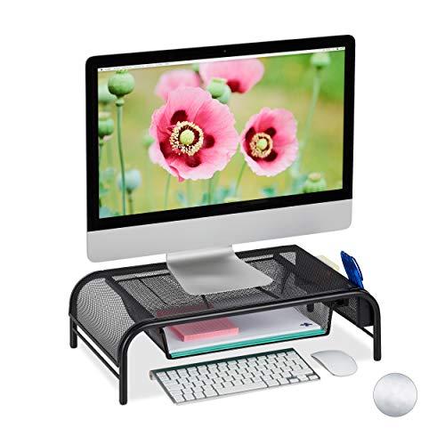 Relaxdays Monitorständer, Schublade, 2 Seitenfächer, Bildschirmständer bis 29 Zoll, HxBxT: 15 x 51 x 29,5 cm, schwarz
