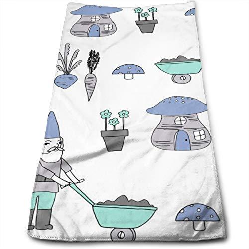 Gnome Tuin Paddestoel Gnome Sprookjesachtige Leuke Gnome Personages Blauw En Mint Originele Haar Handdoek Ultra Absorbens & Snelle Drogen Microvezel Handdoek Voor Fijn & Delicaat Haar (11.8 X 27.5 Inch)