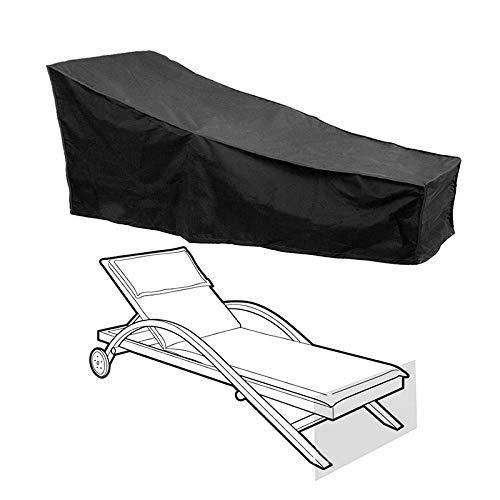Hcyai wasserdichte Outdoor Lounge-Stuhl-Abdeckung Garten Reservat Patio Sonnenschutz wasserdicht Tuch-Liegestuhl-Staubschutz (208 * 76 * 79cm), schwarz