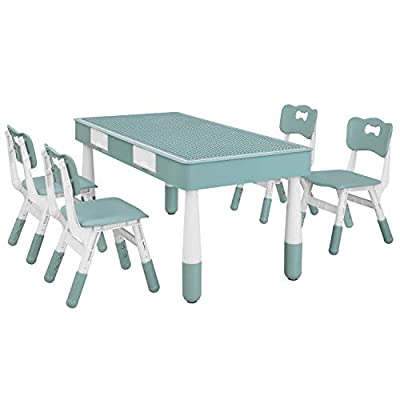 Kids Table with 4 Chairs Set, Children Building Block Activity Table with Height Adjustable Seats, Paintable Art Table Panel, Storage Drawer Toddler Furniture, for Boys & Girls Gift (Gray Blue) by AMAHA