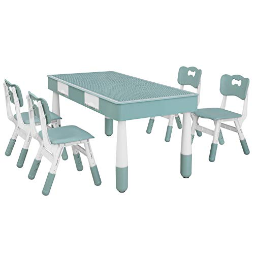 Kids Table with 4 Chairs Set, Children Building Block Activity Table with Height Adjustable Seats,...