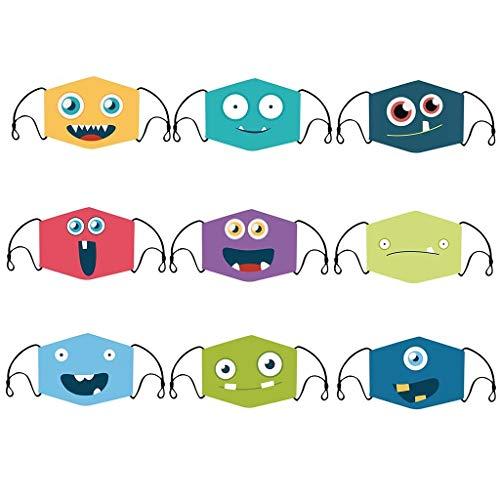 Hanomes 9 Stücke Kinder Komisch Mundschutz Waschbar Baumwolle mit Verstellbarer Ohrbügel Atmungsaktive Staubdicht Multifunktional Halstuch für Jungen und Mädchen