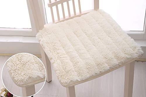Lot de 2 coussins de chaise de jardin carrés en peluche pour intérieur ou extérieur 45 x 45 cm avec poignées à nouer pour fixer à la chaise, blanc