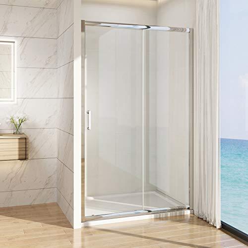 Nischentür Schiebetür Dusche 100 x 185 cm Duschabtrennung Duschwand Nischenschiebetür Duschtür Klarglas 6mm ESG Sicherheitsglas mit Nano Beschichtung