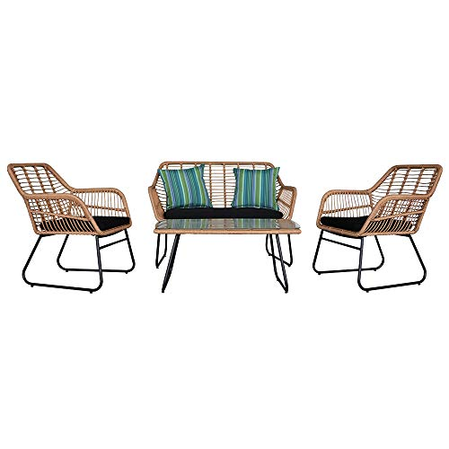 MAYL 4pcs Outdoor Wicker Rattan Chair Patio Furniture Set with Table Cushions Tan