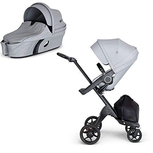 Discover Bargain Stokke Xplory V6 Black Chassis Stroller with Black Leatherette Handle, Grey Melange...