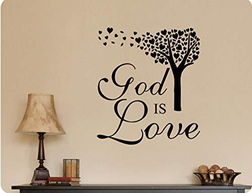Gott ist Liebe Baum Herz Wind weht religiöse christliche Wall Decal Sticker Art Home Decor