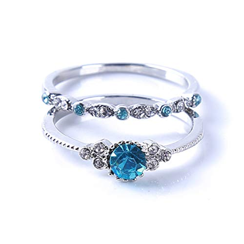 Idiytip Sterling Silver Women's Charm Rings Diamond Shiny Zircon Rings for...