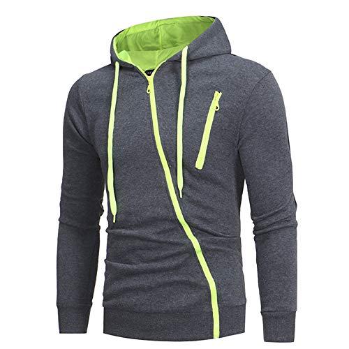 PRJN Men's Casual Slim-fit Hooded Cardigan Sweater with Diagonal Zipper Zipper Men's Casual Slim Hooded Cardigan Sweater Color Matching Diagonal Zipper Men's Casual Slim fit Hooded Cardigan Gray