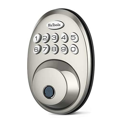 Fingerprint Deadbolt Door Lock, HuTools Biometric Keyless Entry Door Lock with Electronic Keypad, Auto Lock, 20 User Codes Fingerprints, Satin Nickel