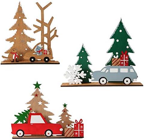 3 stuks creatieve doehetzelf houten decoraties kerstfeest desktop ornament bruin