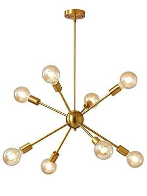 Satellite Chandelier Artificial Satellite Chandelier Old-Fashioned Industrial Chandelier Lighting 8 Brass Ceiling Lights mid-Century Modern Living Room Dining Room Bedroom Lighting Installation