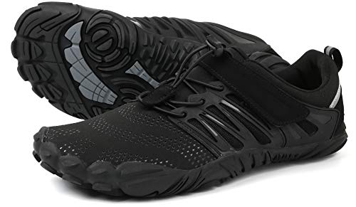 WHITIN Herren Damen Traillaufschuhe Minimalistische Barfußschuhe 5 Five Finger Zehenschuhe Fivefinger Trail Laufschuhe Fitnessschuhe Barfussschuhe für Männer Leichtgewicht Tennis Schwarz Größe 43