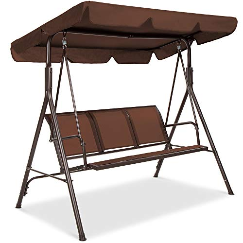 Best Choice Products 3-Seater Outdoor Adjustable Canopy Swing Glider, Patio Loveseat Bench for Deck, Porch w/Armrests, Textilene Fabric, Steel Frame - Brown