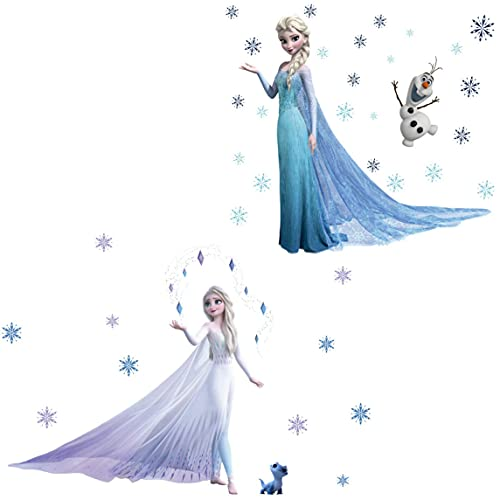 JXHJQY Pegatinas de pared Disney para habitación de los niños pegatinas de pared de Disney Frozen Wall Art Frozen Mural de pared para dormitorios 2 piezas