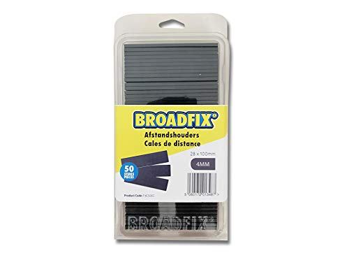 BROADFIX® Premium Verglasungsklötze | 28 x 100 mm | Unterlegplatten, Abstandshalter, Distanzklötze aus Kunststoff (4 mm (50 Stück))