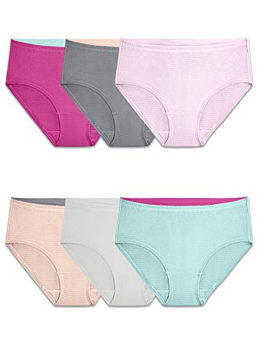 Fruit of the Loom Women's Underwear Breathable Panties (Regular & Plus Size), Low Rise Brief - Micro Mesh - 6 Pack, 7