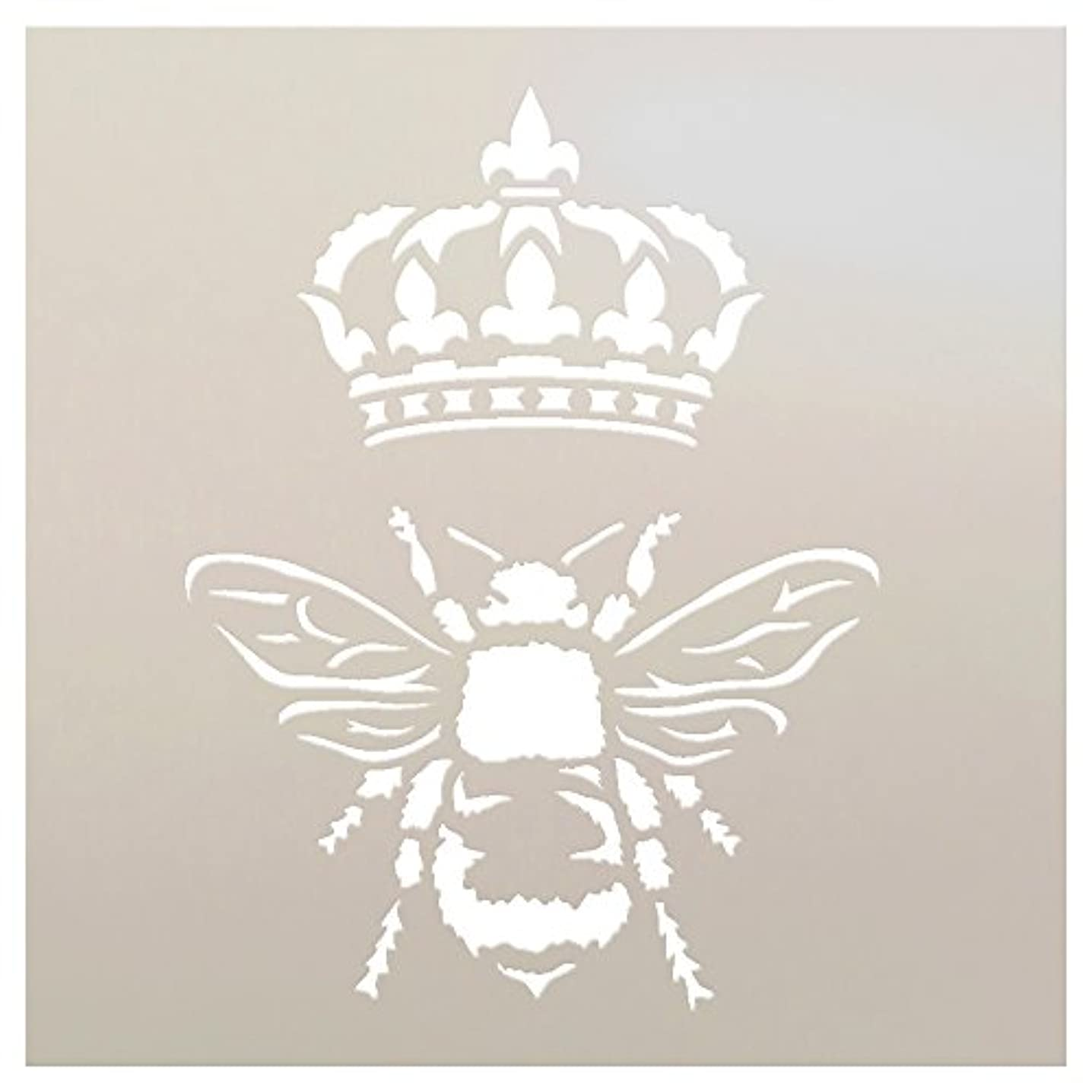 Queen Bee Crown Stencil by StudioR12   Reusable Mylar Template   Royal French, Painting, Chalk, Furniture, Mixed Media   Use for Crafting, DIY Home Decor   STCL1130   Select Sizes (9