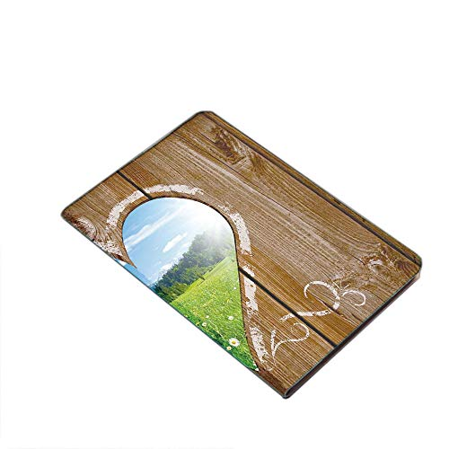 iPad Air 10.5' (3rd Gen) 2019 / iPad Pro 10.5' 2017 Smart Case Cover - Heart Window View from Wooden Rustic Farm Barn Shed with Chalk Art Image Ultra Slim Lightweight Stand Case with PU Leather Stand