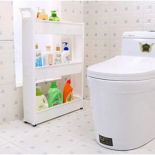 WIN&FACATORY Rack 12 cm breed koelkast kant plastic opbergrek smalle sleuf opbergrek keuken badkamer draaibaar wit 2 3 4 lagen optioneel (grootte: 3 lagen)