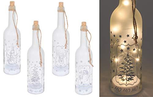 Spetebo 4er Set LED Dekoflasche mit 10 LED - warmweiß - Weinflasche mit Draht Lichterkette und 4 Motiven