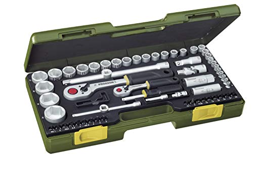 PROXXON Steckschlüsselsatz, Komplettsatz mit 1/4'' und 1/2''-Umschaltratsche, 65-teiliges Werkzeug-Set mit Kunststoffkoffer, 23286